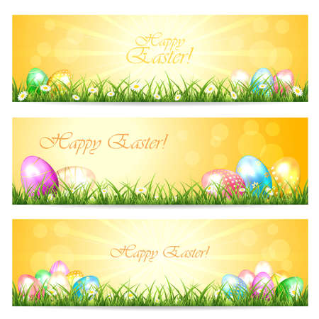 sun illustration: Three Easter cards with eggs in the grass and Sun, illustration. Illustration