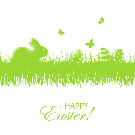 jackrabbit: Green background with little rabbit and Easter eggs in a grass, illustration.