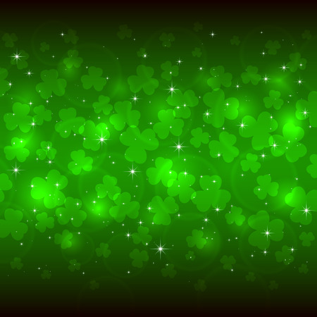 Green background of St. Patricks Day with clover, illustration Ilustracja