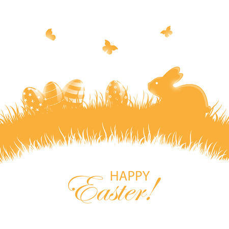 Orange background with little rabbit and Easter eggs in a grass, illustration.
