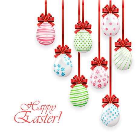 Easter eggs with red bow on white background, illustration. Vector