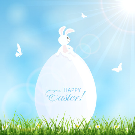 jackrabbit: Blue sky background with a rabbit on the big Easter egg in the grass, illustration.