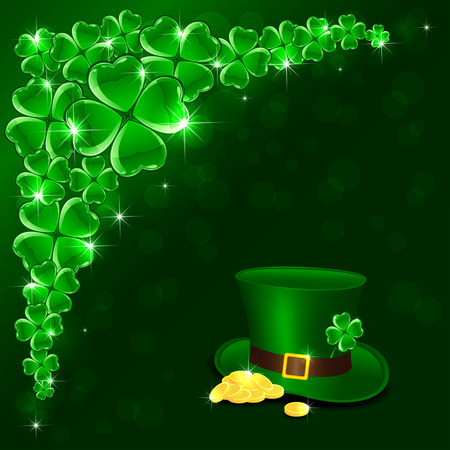 leprechaun background: Patricks Day background with clover, green hat and leprechauns gold, illustration