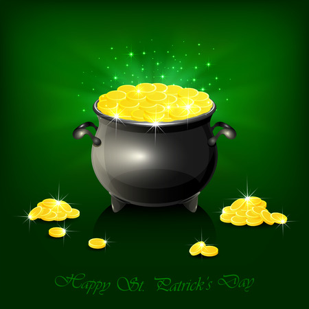 Pot with leprechauns golden coins on shiny green background, illustration. Vector