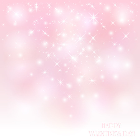 scintillation: Pink Valentines background with shiny stars, illustration. Illustration