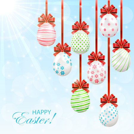Easter eggs with red bow on sunny background, illustration. Vector