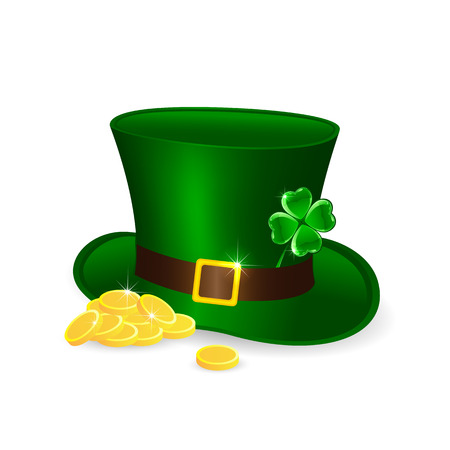 Patricks Day theme, green leprechauns hat and golden coins, illustration