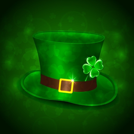 Patricks Day background with green leprechauns hat and clover, illustration