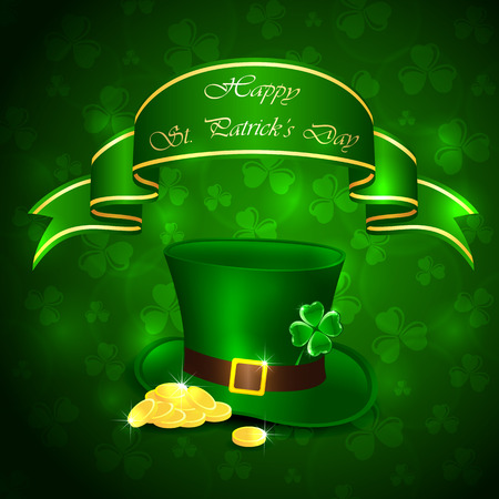Patricks Day background with clover, green hat and leprechauns gold, illustration