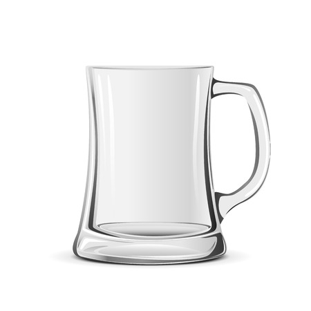 Empty transparent beer mug isolated on white background, illustration.