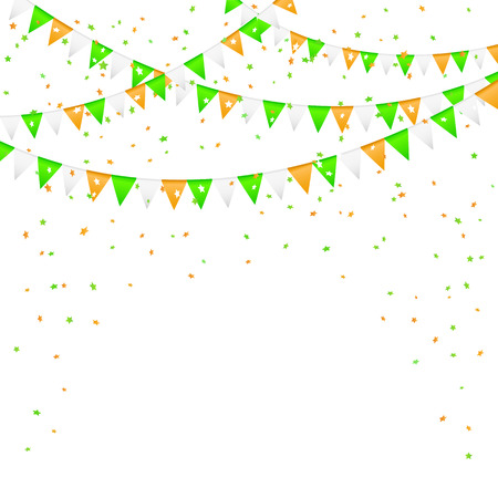 pennants: Patricks day background with colorful pennants and confetti, illustration.
