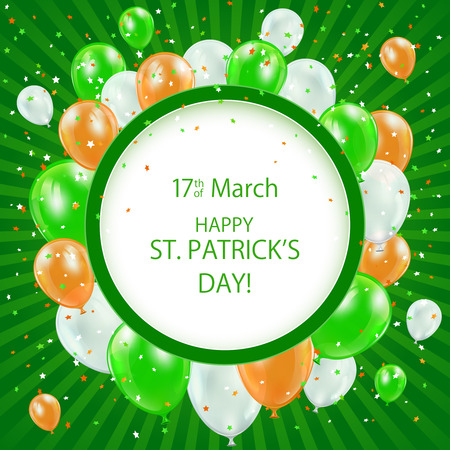 patricks day: Patricks day background with round banner and balloons, illustration.