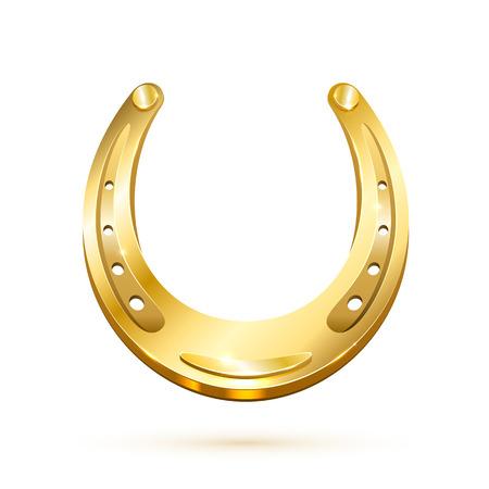 Golden horseshoe isolated on white background, illustration. Vector