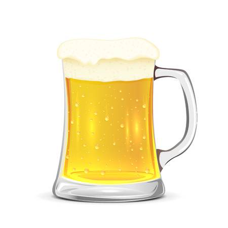 Glass mug of beer isolated on white background, illustration.