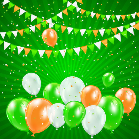 patricks day: Patricks day background with balloons, pennants and confetti, illustration.