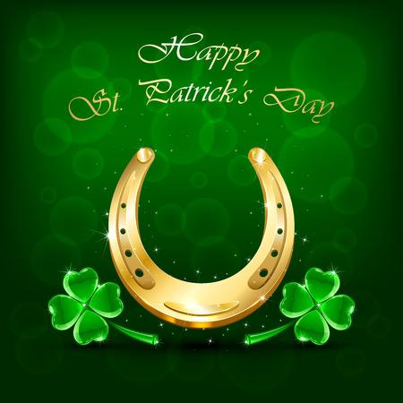 horseshoe: Golden horseshoe and clover on green background, illustration.