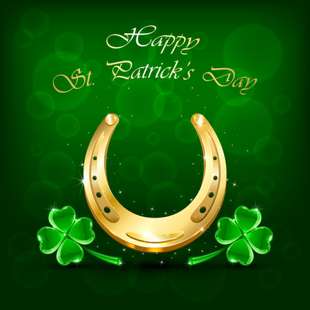 holyday: Golden horseshoe and clover on green background, illustration.