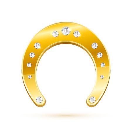 Golden horseshoe with diamonds isolated on white background, illustration. Vector