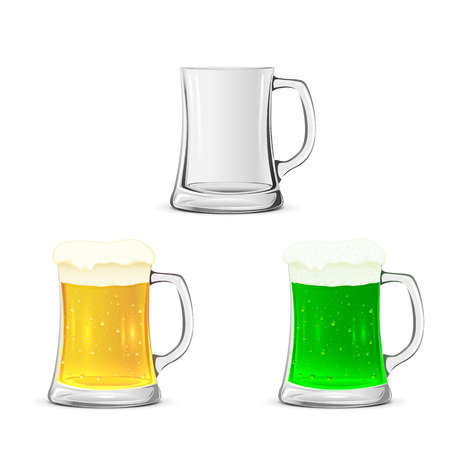 Set of glass mugs with beer isolated on white background, illustration. Vector