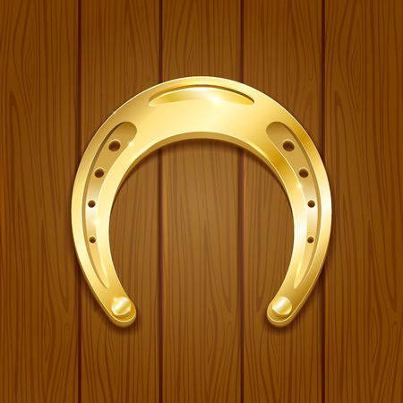 golden horseshoe: Shiny golden horseshoe on wooden background, illustration.
