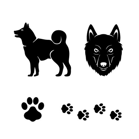 paws: Black icons of the dog isolated on white background, illustration.