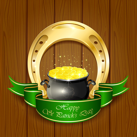 Shiny horseshoe and pot with leprechauns golden coins on wooden background, illustration. Vector