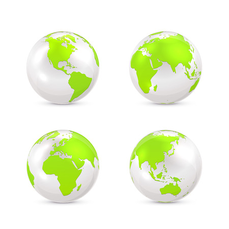 asia pacific: Set of white globes isolated on white background, illustration.