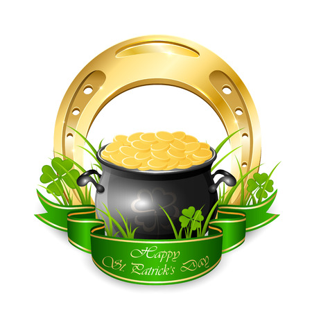 leprechaun background: Clover, golden horseshoe and pot with leprechauns coins isolated on white background, illustration.