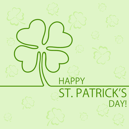 saint patrick's day: Abstract green background of St. Patricks Day with clover, illustration.