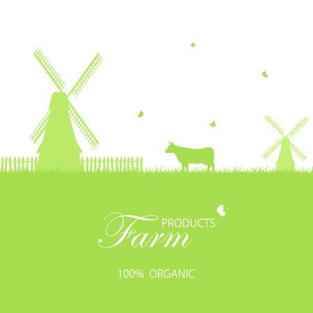 vaca caricatura: Fondo de granja verde con molino de viento y las vacas, ilustraci�n. Vectores