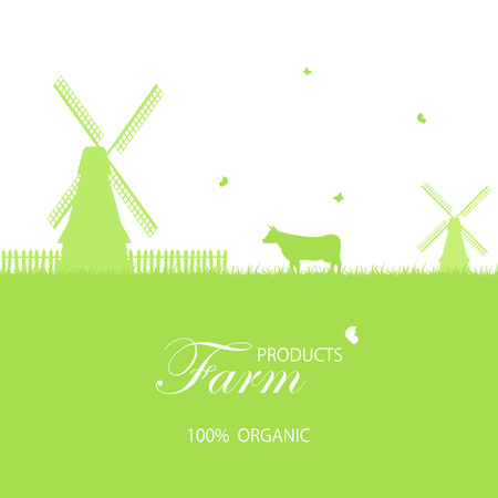 cow cartoon: Green farm background with windmill and cow, illustration.