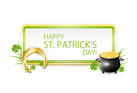Patricks day banner with golden horseshoe and pot with leprechauns coins on white background, illustration. Vector