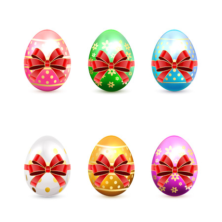 Set of decorative Easter eggs with red bow isolated on white background, illustration. Vector