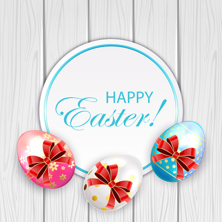 luminosity: Easter card and decorative eggs with bow on wooden background, illustration.