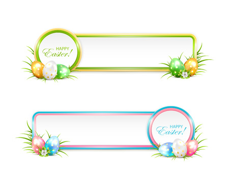 easter flowers: Easter banners with eggs in a grass, illustration.