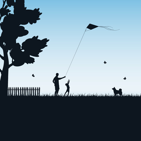 kite: Silhouettes of a happy family of the child and the father with kite on blue background, illustration.
