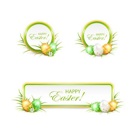 uova d oro: Set di banner di Pasqua con le uova verdi e dorate in un prato, illustrazione. Vettoriali