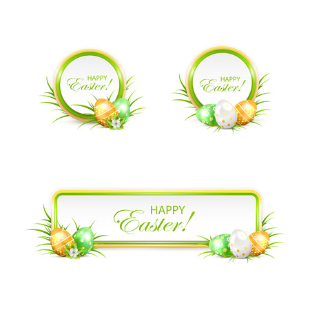 golden eggs: Set of Easter banners with green and golden eggs in a grass, illustration.