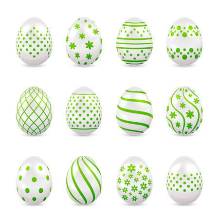 luminosity: Set of decorative Easter eggs with green patterns isolated on white background, illustration.