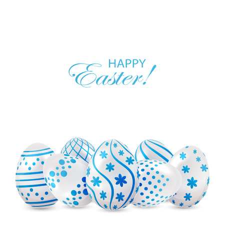 luminosity: Decorative Easter eggs with blue patterns on white background, illustration. Illustration