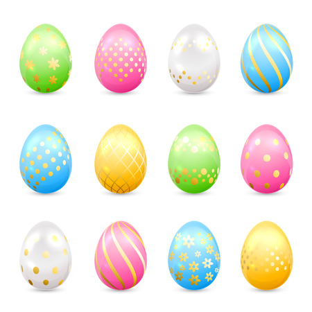 spotted flower: Set of colorful Easter eggs with decorative golden patterns isolated on white background, illustration.