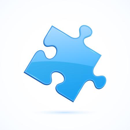 puzzle icon: Blue element of puzzle on white background, illustration. Illustration