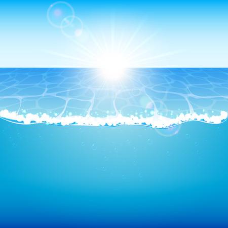 Blue ocean and shining Sun, illustration. Vector