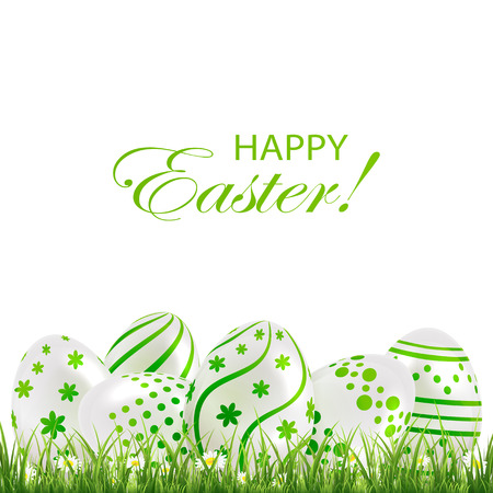 Decorative Easter eggs with green patterns in the grass on white background, illustration. Vector
