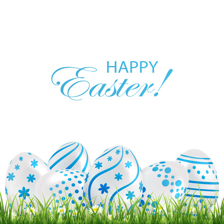 luminosity: Decorative Easter eggs with blue patterns in the grass on white background, illustration. Illustration