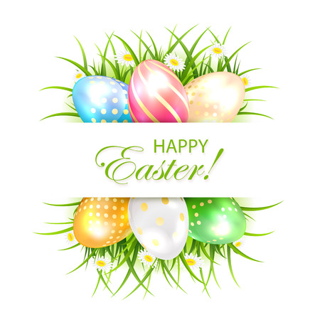 luminosity: Easter banner with multicolored eggs in a grass, illustration.