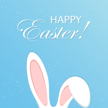 Blue Easter background with rabbit ears, illustration.