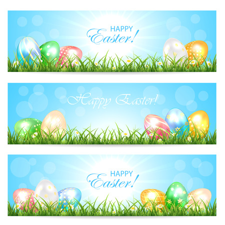 sun illustration: Three Easter cards with colorful eggs in the grass and Sun, illustration.