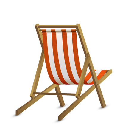 deckchair: Sun lounger with red stripe isolated on white background, illustration.