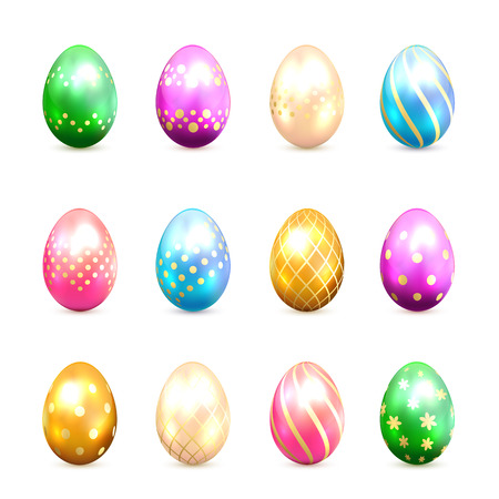 blue egg: Set of multicolored Easter eggs with decorative golden patterns isolated on white background, illustration.